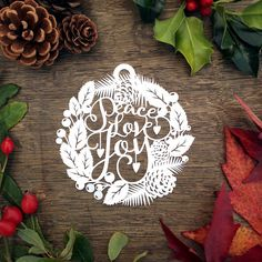 Christmas Bauble Papercut Template 'Peace Love Joy' by SASCreative