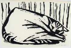 Schlafende Katze - linolschnitt - Barbara Keidel, geboren 1939 Deutschland