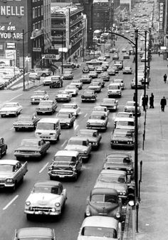 Downtown traffic on Dodge Street, January 1964. THE WORLD-HERALD