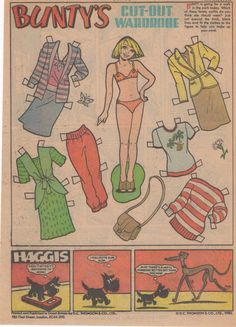 This is an original page from Bunty magazine. There is a Bunty paper doll on one side a comic strip on the back. Bunty was a British comics anthology for girls published by D. C. Thomson & Co. which was established in 1958.  The average issue of Bunty contained several short comic-strip stories, broken up by letters pages, competitions, featured readers, puzzle pages, promotions, next-week previews or advertisements.     NOTE: Combined postage - Its good for you and its good for me! Inte...