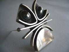 1950's Handmade Silver + Hematite Brooch by John Pagacz