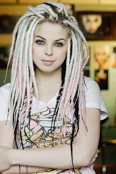 Blonde / Pink / Black dreadlocks #hair #hairstyle #color #blonde