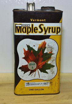 Early Vintage very rare Gallon Size Vermont Maple Syrup Tin Can Bright Vivid Beautiful Graphics. via Etsy.