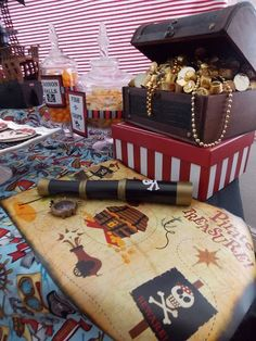Kelly B's Birthday / Pirate Party - Photo Gallery at Catch My Party Deco Pirate, Pirate Decor, Pirate Theme, Party Deco, Party Party, Pirate Birthday, 4th Birthday Parties, Princess Party, Treasure Chest