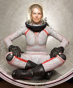 the future of pressure suits. to combat the vacuum of space, this suit uses surface pressure to press against the skin, thus keeping the fluids within the body in a liquid state.