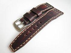 Dark Brown Watch Strap Natural Leather 24mm