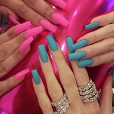 Hot pink and teal matte blue
