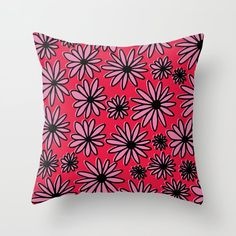 Floral Pattern - Red, Pink, Pop-Art Throw Pillow by peladesign Red And Pink, Pop Art, Throw Pillows, Floral, Pattern, Design, Toss Pillows, Cushions, Flowers