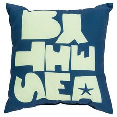 Bring a pop of coastal appeal to your sofa or patio seating group with this lovely indoor/outdoor pillow, featuring a shore-themed typographic motif.