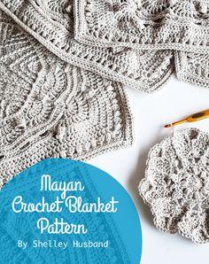 Mayan CAL 2017 2017 Mayan Crochet Blanket CAL by Spincushions pattern Granny Square Crochet Pattern, Crochet Blanket Patterns, Crochet Squares, Crochet Blankets, Crochet Afghans, Granny Squares, Free Crochet, Knit Crochet, Irish Crochet