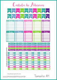 Planner financeiro arquivo em português adesivos Agenda Planner, 2017 Planner, Free Planner, Printable Planner, Happy Planner, Planner Stickers, Journaling, Free Printable Stickers, Planner Inserts