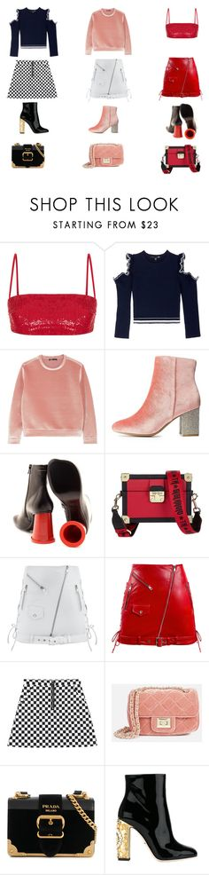 """""""3 cute outfits"""" by larachu on Polyvore featuring Rasario, Comme Moi, Maje, Charlotte Russe, MM6 Maison Margiela, Tommy Hilfiger, Manokhi, JustFab, Prada and Dolce&Gabbana"""