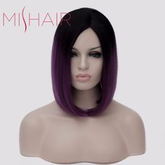 Mishair Women's Short Ombre Purple Wig Heat Resistant Synthetic Lady Wig Cosplay Purple Color Fashion Wig for Womens Anime Wig >>> Want to know more, click on the image.