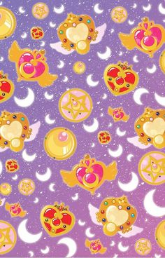 Sailor Moon Wallpaper. Compacts and Brooches.
