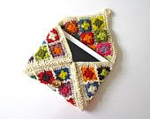 iPad case, iPad cover, iPad sleeve, Jolly Good iPad cosy, colorful, crochet, patchwork, granny square, lady gift, gift for her, organic wool