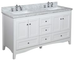 This bathroom vanity set by Kitchen Bath Collection includes a white Shaker-style cabinet with soft close drawers and self-closing door hinges, Italian Carrara