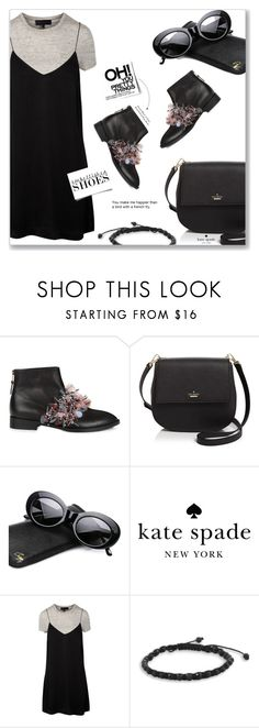 """""""Anouki Black & Pink Embellished Strap Boots"""" by idocoffee on Polyvore featuring Anouki, Kate Spade, Crap, BillyTheTree, polyvoreeditorial and embellishedshoes"""