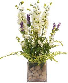 "One Kings Lane - The Decor Shop - 21"" Larkspur in Cube Vase, Lavender"