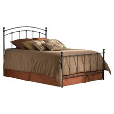 King size Matte Black Metal Bed with Headboard and Footboard - Quality House