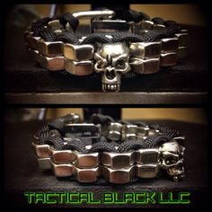 Paracord, hexnuts, skulls... Whats not to like? This bracelet is made with U.S. manufactured 550 paracord along with a double stack row of