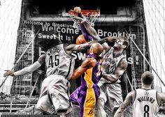 eb5ae493f910 Kobe Bryant dunks on Brooklyn Kobe Bryant Dunk