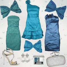 Tre #abiti per le vostre #serate #eleganti .. Il #verde, il #turchese e il #blu sono perfetti abbinati ad accessori #argento, per un #look veramente #brillante!