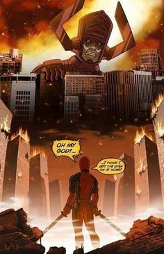 We've all thought it - Deadpool & Galactus - Marvel Comics - Wade Wilson - The Merc With The Mouth Memes Marvel, Dc Memes, Marvel Funny, Marvel Dc Comics, Dead Pool, Marvel Universe, Poster Anime, Cosplay Meme, Deadpool Funny