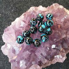 Glass black and blue splatter round beads #newjewlz #hempjewlz #hemp #jewelry #beads #glass #black #blue #round #splatter