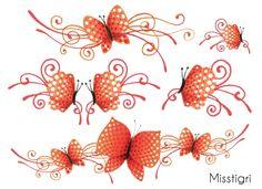 Tatouages Papillions orange corail, Sioou