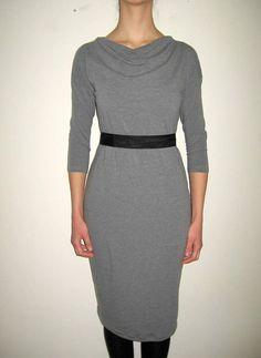 Minimalist Grey Dress with Belt Fitted Dress Boatneck Dress