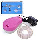 AMPERSAND SHOPS Airbrush Kit Set Mini Air Compressor 0.2 mm Nozzle Dual Action Trigger Control (Pink)