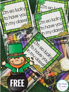 FREE bag topper to staple to a St. Patrick's Day treat for your students or kids! Perfect for Preschool, Kindergarten, First Grade, Second Grade, or Third Grade!