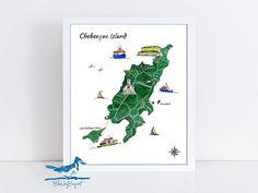 Chebeague Island Watercolor Map Print Casco Bay Maine Art
