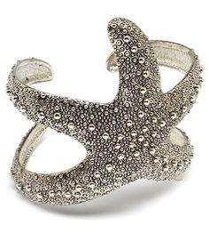 """Ladies 2.5"""" Inch Starfish Silver Textured Bracelet Womans Arm Wide Cuff  ---ebay ladies!"""