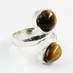 Tiger Eye Gemstone Doublet 925 Sterling Silver Ring by JaipurSilverIndia on Etsy