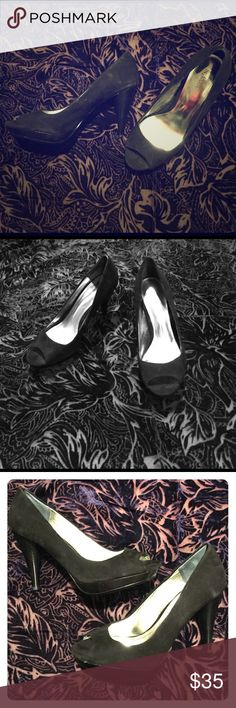 Sexy Style&Co Peep Toe Sexy black suede, high-heel peep toe pump! So cute and easy to wear with dressy business suit or a night-out party dress. Versatile and a classic for all time! Almost new! Style & Co Shoes Platforms
