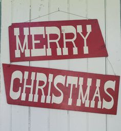 Vintage Hand Painted Merry Christmas Sign // Cute and by MyBarn