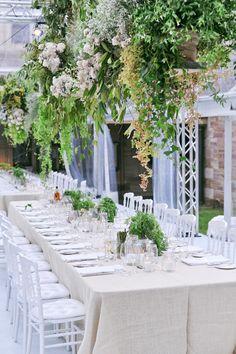 Hanging basket installation. Photography By / sugarloveweddings.com, Floral Design By / grandiflora.net