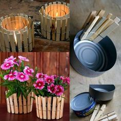 This is so easy and cute! Clothes pins and tuna cans = flower pots or candle holders Kids Crafts, Diy And Crafts, Kids Diy, Easy Crafts, Mothers Day Crafts, Flower Pots, Diy Flower, Flower Seeds, Flower Vases