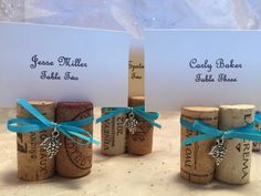Cork Place Card Holders Set of 20 Your Ribbon Color Choice Wedding Rehearsal Dinner Wine Event Party Favor Photo Holder by mendydensadesigns on Etsy https://www.etsy.com/listing/225097530/cork-place-card-holders-set-of-20-your