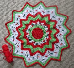 Christmas ripple afghan - this link will send you to another where the pattern is. This one is just beautiful !