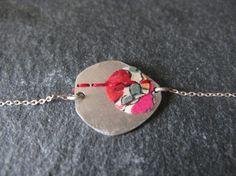 Bracelet gourmette *De fil en aiguille*- argent 925 et textile