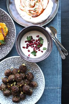 My Little Expat Kitchen: A meze meal: Pistachio-stuffed tiny lamb meatballs | Orange and date salad with date molasses vinaigrette | Tahini, garlic and lemon dip with pomegranate seeds and parsley | Greek yoghurt dip with garlic, harissa and petimezi