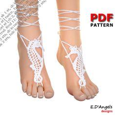 Sandalias pies descalzos | de ganchillo | patrón | boda de playa | CABALLITO DE MAR
