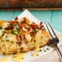 This eggs Benedict casserole from Chew Out Loud lets you do all the work---except for making the hollandaise (for which I would use a traditional recipe rather than the one here)---the night before. Mmm.