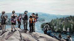 Rock Logic; Water Logic Cath Hughes (2013) oil on canvas 15in × 30in × 1in