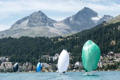 """Sailing In """"Reverse Wind"""" - Lake St. Moritz stands for perfect sailing conditions even in the height of summer. That's mostly thanks to the legendary Maloja wind. Palace Hotel, Alps, Surfboard, In The Heights, Sailing, Europe, Summer, Outdoor, Candle"""