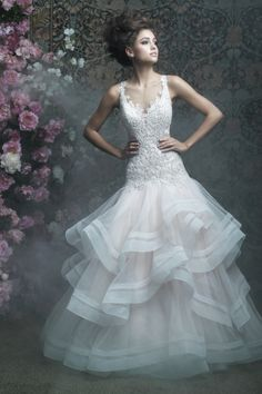 Ruffled drop waist Allure Bridals wedding dress: http://www.stylemepretty.com/lookbook/designer/allure/allure-couture-spring-2017/ #sponsored