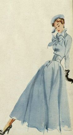 Ciao Bellísima - Vintage Sketchbook; Robert Piguet Design, 1948