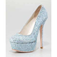 Women's Alice + Olivia Larimore Glitter Platform Pump, Silver/Blue ($295) ❤ liked on Polyvore